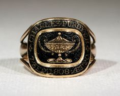 Antique Georgian Black Enamel Mourning Ring by VictoriaSterling
