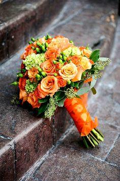 Orange Roses, Green Viburnum, Green Hypericum Berries, Green Seeded Eucalyptus Wedding Bouquet