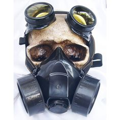 Black 2 pc. 'DIY' Respirator Set Steampunk Double Filter GAS MASK and... (£46) ❤ liked on Polyvore featuring mask