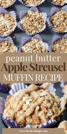 Delicious Apple Muffin Recipe with an incredible Peanut Butter Streusel AND creamy peanut butter drizzle. #streuselmuffins #applemuffins #applepeanutbutter