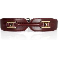 Oscar de la Renta Pyramid-stud leather belt ($312) ❤ liked on Polyvore featuring accessories, belts, oscar de la renta, cintos, burgundy belt, leather pyramid stud belt, burgundy leather belt and leather belt