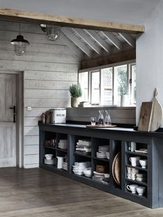 Open kitchen storage. Simple and efficient. #ShakerStyle #NeptuneHome