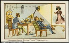 The future is calling: Over 100 years ago, French artists drawing scenes for cigar boxes dreamed up futuristic gadgets such as this cine-phono-telegraph, which allows people to speak over the telephone and see each other on a screen at the same time - much like Skype and Apple's FaceTime