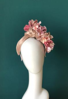 floral band-SOLD – Sassy Millinery Onlinestore Pom Pom Headband, Millinery Hats, The Blushed Nudes, Headband Styles, Summer Design, Fascinators, Dusty Rose, Headpiece, Jin