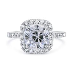 2.30 CT CUSHION CUT D/SI1 HALO DIAMOND SOLITAIRE ENGAGEMENT RING 14K WHITE GOLD