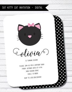 Kitty Invitation Cat Kitten Birthday Printable Party Choose Your Color Invite