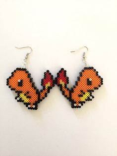 Pokemon Charmander Perler Bead Earrings  by CarafirasCreations