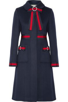 Navy wool, navy and red grosgrain Concealed button fastenings through front 100% wool; trim: 65% viscose, 35% cotton; lining: 71% acetate, 29% silk Dry clean Made in Italy