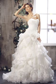 Cute+A-Line+Sweetheart+Sweep-Brush+Train+Ivory+Organza+Wedding+Dress+with+Ruffles+CWLT1301A #weddingdress #cocomelody