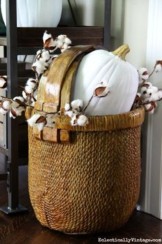 Fall basket filled with cotton and a white pumpkin - Eclectically Vintage Thanksgiving Table Settings, Thanksgiving Decorations, Seasonal Decor, Thanksgiving Games, Happy Thanksgiving, Holiday Decor, White Pumpkins, Fall Pumpkins, Fall Home Decor