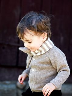 little boy knitted sweater and ascot scarf
