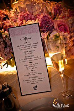 pink and black menu card