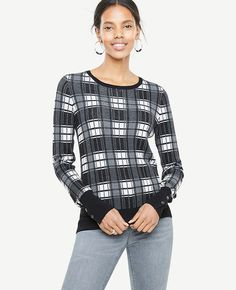 f7c7f4e49a1c Shop Ann Taylor for effortless style and everyday elegance. Our Plaid  Jacquard Button Cuff Sweater is the perfect piece to add to your closet.