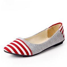 Retro College Navy Stripes Head Canvas Flat Shoes