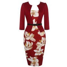 Babyonline Women Colorblock Wear to Work Business Party Bodycon One-Piece Dress - Burgundy XXX-Large Very Short Dress, Straight Dress, Plus Size Maxi Dresses, Short Sleeve Dresses, Dresses For Work, Dress Work, Long Sleeve, Cap Dress, Dress Up