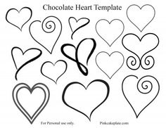 Easy Chocolate Heart Tutorial and Template - Pink Cake Plate Chocolate Work, Chocolate Hearts, Melting Chocolate, Cake Chocolate, Chocolate Bowls, Royal Icing Templates, Royal Icing Transfers, Piping Templates, Shoe Template