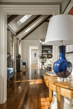 """According to HGTV Dream Home 2015 interior designer Linda Woodrum, """"The inspiration for the blue in this room came from the import ware (blue and white jars), which was really part of the history of Martha's Vineyard. Wooden Beams Ceiling, Wood Beams, Hgtv Dream Homes, Hallway Decorating, Decorating Ideas, Interior Decorating, Luxury Interior Design, Traditional House, My Dream Home"""