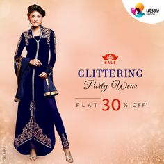 Get flat 30% off and be the center of attention to rock the party with glittering party wear collection. Find blingy attires & add-ons with sequins, cutdana, stone, bead work & many more! #AnythingIsPossible. Shop Now @ http://www.utsavfashion.com/promotions/58