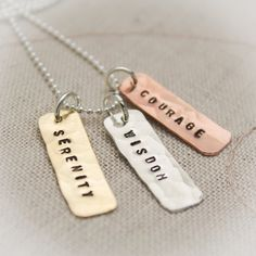 Serenity Prayer Necklace Hand Stamped Mixed Metals Tiny Copper Brass Silver Tags