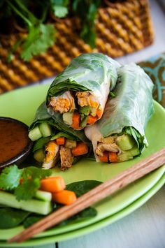 Grilled Chicken Summer Rolls with Carrot Salad