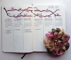 "97 Likes, 5 Comments - Leeya☀️ (@forgetmenot.bujo) on Instagram: ""My future log in my new bullet journal! You might be able to tell I love flowers!"""