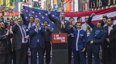 New York City Mayor Bill de Blasio speaks during a rally in support of Muslim Americans and protest of President Donald Trump's immigration policies in Times Square, New York, Sunday, 19 February 2017: New York City Mayor Bill de Blasio was among those to show support for Muslim Americans at a rally in New York on Sunday