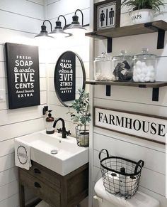 Space-Saving Bathroom Organization Space-Saving Bathroom Organization Ideas Bathroom Whatever cupboard space you've got in your home, somehow it . Diy Bathroom, Guest Bathrooms, Cheap Bathrooms, Rustic Bathrooms, Vanity Bathroom, Vanity Sink, Bathroom Ideas, Modern Bathroom, Budget Bathroom