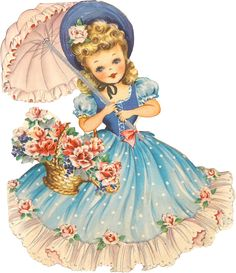 **FREE ViNTaGE DiGiTaL STaMPS**: Free Retro Image - Sweet Umbrella Gal   My Greataunt used this little girl on lots of her crafts in the 50's & 60's