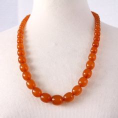 Art Deco Genuine Amber Necklace 25 Inch 56 Grams - Egg Yolk Natural Baltic Amber Bead Necklace - Matinee Length - Art Deco Vintage Jewelry at VintageArtAndCraft