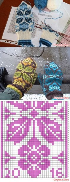 * Fair isle mittens with flowers and leaves. - Jacquard - the Country of Mothers Knitting Charts, Lace Knitting, Knitting Stitches, Knitting Socks, Knitting Patterns, Knitted Mittens Pattern, Knit Mittens, Knitted Gloves, Norwegian Knitting