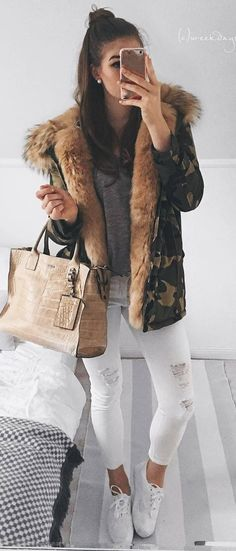 cool outfit / bag + sweater + khaki jacket + white rips + sneakers