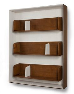 Rare wall mounted shelving units by Gio Ponti Unique Wall Shelves, Wood Wall Shelf, Wood Shelving Units, Wood Shelves, Wall Shelving, Storage Shelving, Bookcase Shelves, Shelving Ideas, Wood Storage