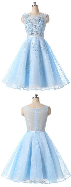 Blue Homecoming Dresses,Girls A-line Scoop Neck Cocktail Dresses,Lace Appliques Lace Party Gowns,Short Prom Dresses