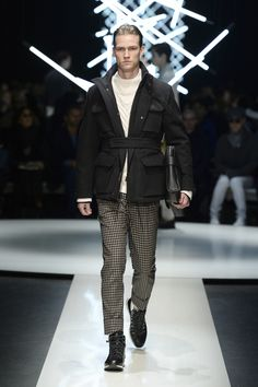 Short unlined wool parka with applied pockets, funnel neck sweater, check pants and calfskin document holder #CanaliFW15 #FW15 #moda #menswear #fashion #mfw