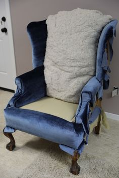 Learn how to reupholster the back, sides, and outside of a wingback chair, featuring the Arrow Fastener pneumatic staple gun. Diy Furniture Upholstery, Chair Reupholstery, Funky Furniture, Upholstered Chairs, Redoing Furniture, Wingback Chairs, Paint Furniture, Chair Cushions, Furniture Projects