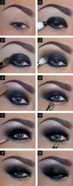 make up guide DAS perfekte Silvester Make-Up! make up glitter;make up brushes guide;make up samples; Dark Eye Makeup, Love Makeup, Skin Makeup, Makeup Eyeshadow, Mac Makeup, Makeup Brushes, Blue Eyeshadow, Perfect Makeup, Amazing Makeup