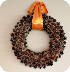 Ha!  I knew I was hoarding cute tiny pinecones for some reason! How to make pine cone wreath