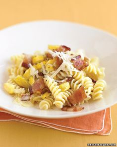 Creamy Fusilli with Yellow Squash and Bacon - Martha Stewart Recipes