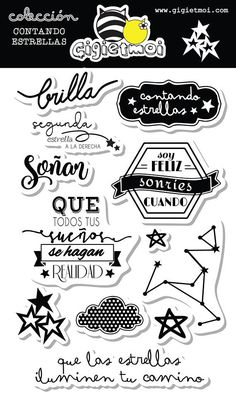 Clear stamps set in spanish language. High quality Designed by Gigietmoi Counting Stars, Kid Cudi, Tupac Shakur, Scrap Material, Whimsy Stamps, Clear Stamps, Stencils, Spanish, Wiz Khalifa