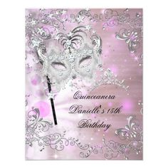 Pink Quinceanera 15th Birthday Tiara Masquerade invitations Birthday invitations by zizzago.com