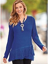 Fringe Trim Sweater | Blair/28 inches long/up to a size 3x