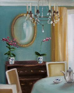 Afternoon Coffee by Janet Hill Janet Hill, Beautiful Day, Cool Art, Illustration Art, Shabby, Mirror, Creative, Artist, Inspiration