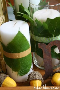 leaf and washi tape wrapped candles