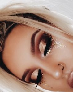 "Dancers Dark eye lid and liner with glitter trailing down to cheek not ""instagram eyeshadow"""