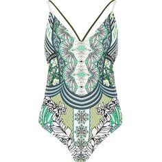 River Island RI Resort green print swimsuit found on Polyvore featuring swimwear, one-piece swimsuits, bathing suit, swimsuits, bikini, green, swimwear / beachwear, women, print bikini and bathing suits bikini