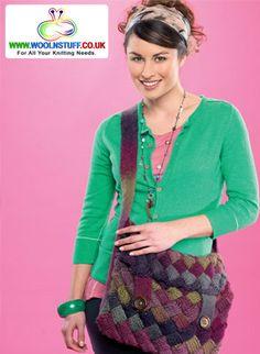 Entrelac bag - Free Knitting Patterns - Homewares Patterns - Let's Knit Magazine