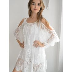 $16.99 Ladylike Scoop Neck Cut Out Shoulder Lace See-Through Dress For Women