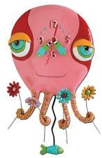 Whimsical Pink Octopus pendulum Clock by artist Michelle Allen Designs ocean sea