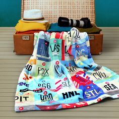 Airport codes blanket. #travel #decoration #airport