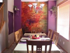 Nice project of Sondra Abbott (Sondra Abbott Design) http://www.sondraabbottdesign.com/. Wall mural from Muralunique.com: https://www.muralunique.com/autumn-leaves-reflected-in-a-stream-12-x-8-366m-x-244m.html